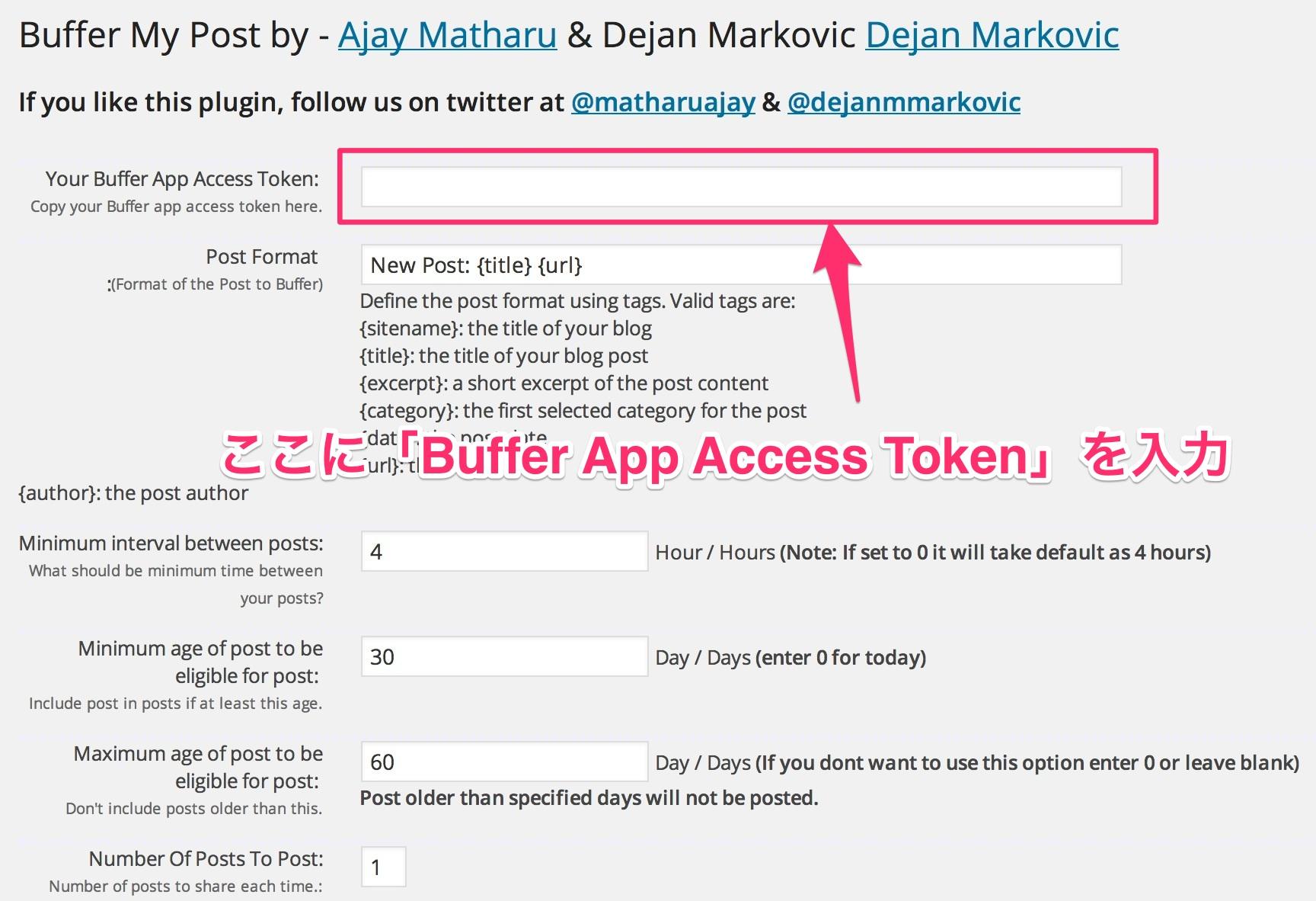 Buffer My Postで「Buffer App Access Token」を取得する