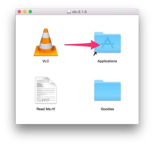 アプリケーションフォルダにVLCをコピー